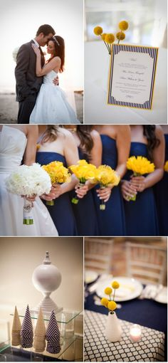 The yellow of these bridesmaids' bouquets really pop against the navy dresses.  Notice they are all different yellow flowers too!    Photo:  Jasmine Star Photography