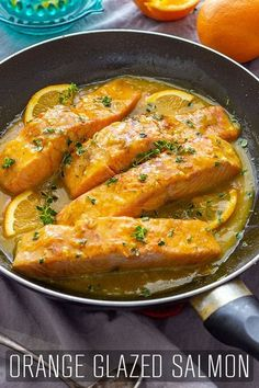 This Orange Glazed Salmon recipe is quick and easy to make and your diners will love it. Perfect for a healthy lunch, weeknight dinner or a dinner party! happyfoodstube orange glazed salmon recipe lunch dinner seafood cooking via 546202261057563824 Fish Recipes, Seafood Recipes, Dinner Recipes, Healthy Recipes, Ww Recipes, Healthy Cooking, Healthy Eating, Oven Baked Salmon Fillet, Salmon Fillets