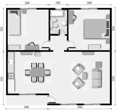 Simple e good 2 Little House Plans, Guest House Plans, 2 Bedroom House Plans, Dream House Plans, Small House Plans, House Floor Plans, Small Apartment Plans, Apartment Layout, Small Apartments