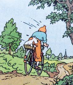 Tintin by bike Illustrations, Illustration Art, Tin Tin Cartoon, Captain Haddock, Herge Tintin, Comic Art, Comic Books, Ligne Claire, Fox Terriers
