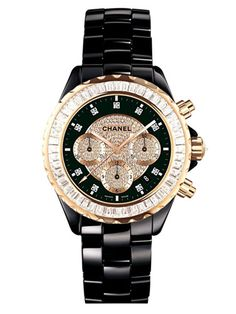 GORG!  chanel black and gold watch.