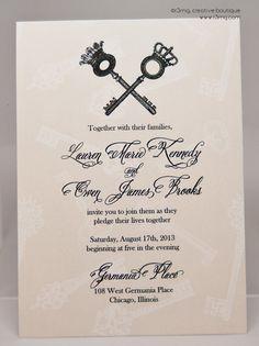 Vintage Skeleton Key Wedding Invitation Set  Vows by r3mg  by r3mg, $300.00