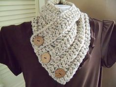 Chunky Crochet Cowl Neck Scarf Accessories by PerfectStitches, $38.00