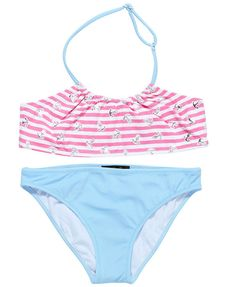 Pink Silver and Baby Blue nautical bikini for girls by stella cove beach wear for girls collection