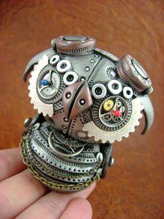 MechOwlie - Freestyle Surprise - Freestanding Industrial Steampunk Owl Sculpture. $99.00, via Etsy.