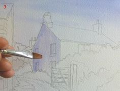 How to paint a cottage scene in watercolor - a free, step-by-step lesson, by Joanne Boon-Thomas, at ArtTutor.com