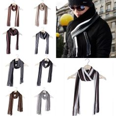Various Color Men's Winter Knitted Striped Tassels Warm Long Scarf Wrap Scarves