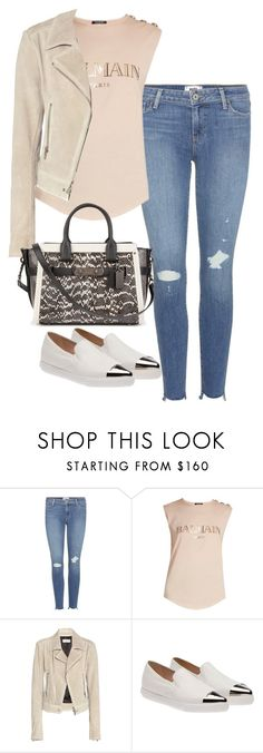 """Sin título #5597"" by marianaxmadriz ❤ liked on Polyvore featuring Paige Denim, Balmain, Balenciaga, Miu Miu and Coach"