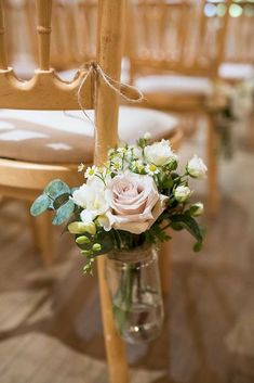 Beautiful Pink Country House Wedding Pew Ends Ceremony Aisle Flowers Jars Beautiful Country House Wedding www. Church Pew Wedding Decorations, Church Wedding Flowers, Wedding Pews, Vintage Wedding Flowers, Aisle Flowers, Flowers In Jars, Wedding Chairs, Floral Wedding, Wedding Bouquets