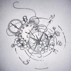 Kompass und Uhr  Bleistift auf Papier   21 x 20 cm   2015   30 EUR  #Art #painting #Tattoo #drawing #Sketch