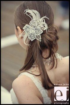 wedding hair | wedding hairstyles up | jeweled flower wedding hair | Renee Pawele Look 5 Summer 2011 | WeddingHair.com