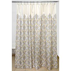 Bedazzled Grey Damask 100 Percent Polyester Shower Curtain