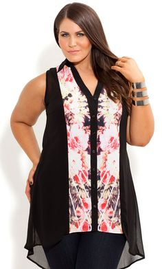 City Chic - SPLICED PAINTING SHIRT - Women's plus size fashion