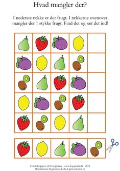 (frugt) by sprogkiosken Early Education, Kids Education, Math For Kids, Games For Kids, Dramatic Play, Food Themes, Business For Kids, Bingo, Preschool Activities