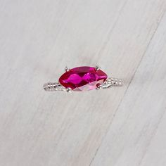 Sterling Silver Ring Marquise Red Corundum Stone by ShiriAvda