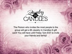 I will be posting things about Jewelry In Candles. We will also be playing games and trivia. Earn points for prizes and discount codes. The Facebook party will start Friday, April 17 2015 at 6:30p EST! Join us and invite your friends!  *JIC Reps will not be able to earn points or prizes.