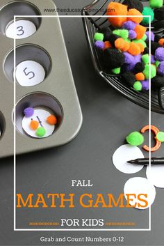 Fall Math Games for Kids. Grab and Count Numbers 0-12. Simple preschool math activity!