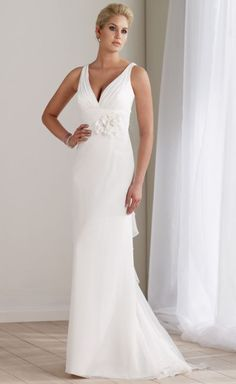 Mon Cheri Destinations Chiffon V Neck Informal Wedding Dress 211190 at frenchnovelty.com