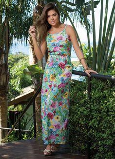 Vestido Longo de Alça Floral - Posthaus