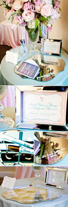 Pretty baby shower in pink, mint green, and gold