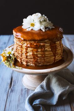 It seemed only fitting that a Mexican inspired Thanksgiving feast would end with a finale as delicious and gloriously breathtaking as a crepe cake stacked 50 crepes high, with fluffy dulce de leche cream between each layer and a rich caramel sauce drizzled over the top. Don't be intimidated. The