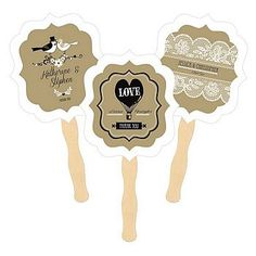 Personalized Vintage Wedding Paddle Hand Fans