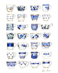 Giclee print of original watercolor painting of blue and white teacups, all antique china patterns in cobalt blue, some with gilt accents. This