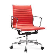 Halfhoge Eames Office Chair met geribbeld, rood leer