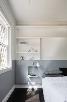 A Bungalow Renovation Near Sydney: House Au Yeung by Tribe Studio Architects Wainscoting Stairs, Black Wainscoting, Wainscoting Nursery, Wainscoting Kitchen, Painted Wainscoting, Wainscoting Ideas, Studio Build, Bungalow Renovation, Shelving Design