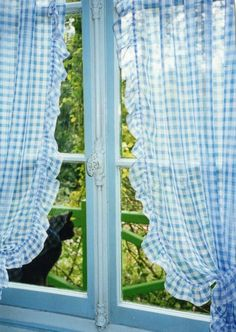 blue gingham curtains at the kitchen window. Gingham Curtains, Country Curtains, Blue Curtains, Dyi Curtains, Ruffled Curtains, Check Curtains, Blue Gingham, Gingham Check, White Cottage