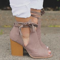 Vegan Suede Cut Out Shaft Peep Toe Booties- These booties are a must-have for your summer wardrobe! -uoionline.com