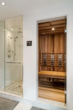Haus Sauna Must Have: Steam Shower + Sauna Combo *(but bigger. and with a freestanding jetted tub) Bathroom Layout, Modern Bathroom, Master Bathroom, Master Baths, Steam Showers Bathroom, Bathroom Ideas, Sauna Steam Room, Sauna Room, Home Steam Room