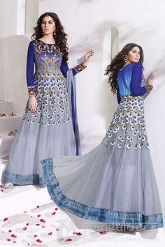Grey Net Stone Work Designer Anarkali Dress For more information :- Call us @+919377222211 (Whatsapp Available)