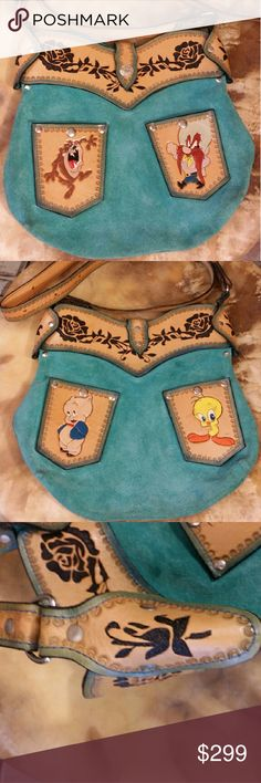 """Vintage RARE Looney Toons Purse Rare unique vintage Looney Toons handbag in great condition. Green suede purse with stamped and colored leather trim and pockets. Snap strap closure. 4 outside snap pockets featuring beautifully stamped and colored Taz, Yosemite Sam, Porky Pig and Tweety Bird. Roses adorn the top trim of this great bag. Buckle adjustable 53"""" shoulder strap. Vintage Bags Crossbody Bags"""