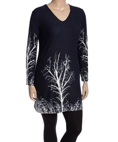 Another great find on #zulily! Navy & White Branch Tunic - Plus #zulilyfinds