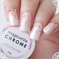 Gorgeous nails by using our Magic White Chrome powder! Aren't these perfect as wedding nails? 😍😍😍 Shop for featured… Marble Nail Designs, Nail Polish Designs, Nail Art Designs, Nails Design, Chrome Nail Powder, Chrome Nails, Burgundy Nails, Red Nails, Black Nails