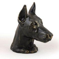 Doberman cropped dog big head statue limited by ArtDogshopcenter