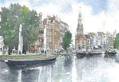 Amsterdam, watercolor, John walker