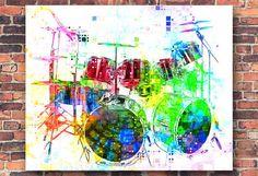 Drums Drum Set Drums Art Drums Print Music Gift by PoolPartyPopArt