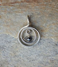 Hammered Silver and Freshwater Pearl Spiral Pendant ~ Sterling Silver, Grey Freshwater Pearl, Spiral of Life, Bohemian, Wire Wrapped Pendant