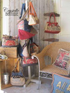 free purse patterns using feed sacks & burlap
