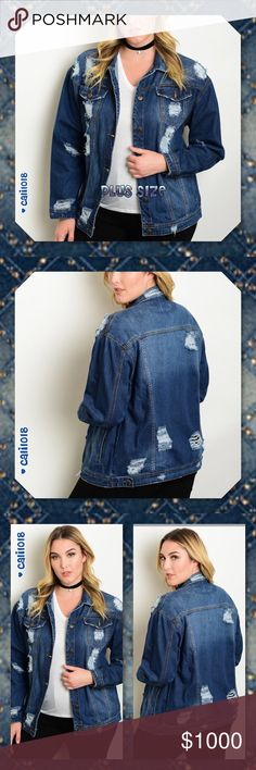 "JUST IN🆕Plus Size Destroyed Denim Jacket New Plus size long sleeve dark wash destroyed boyfriend fit denim jacket. Color: Dark Wash Destroyed Made in CHINA Material: 100% COTTON Size: 1XL, 2XL, 3XL Plus size only Fits true to size   Approx Measurements taken from 1X:  Bust: 42"" Waist: 42"" Length: 27""  💠💠PRICE FIRM UNLESS BUNDLED💠💠 🌺🌺SORRY, NO TRADES🌺🌺 Glam Squad 2 You Jackets & Coats Jean Jackets"