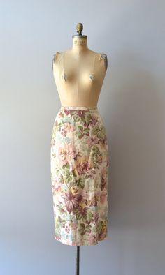vintage midi skirt / linen floral skirt / Horticulture skirt