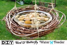 This simple waterfeeder made from thrift shop items will attract small birds, bees, and butterflies to your garden. Provide clean, fresh water daily.