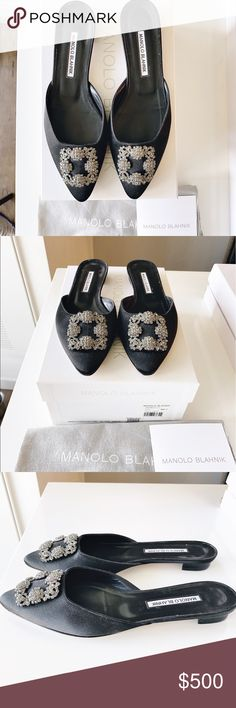 MANOLO BLAHNIK Hangasi Flat size 38.5 Excellent condition. No signs of wear other than soles. Worn only a few times. Black satin Manolo Blahnik Shoes Flats & Loafers