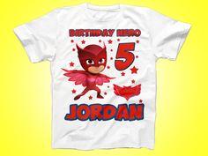 Owlette Birthday Shirt, PJ Masks Birthday shirt, Super Hero Birthday TShirt, Party Shirt by FunPartyDay on Etsy
