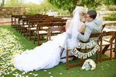 Just Married Sign with Bride & Groom  Venue - Sassi  Photographer - Terry McKaig #rusticwedding #justmarried