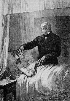 Les Miserables : Death of Fantine  - Jean Valjean ferme les yeux de Fantine - Illustration par Émile Bayard (1862)