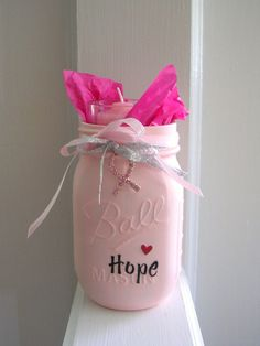 Hey, I found this really awesome Etsy listing at https://www.etsy.com/listing/239330420/breast-cancer-mason-jar-pink-painted