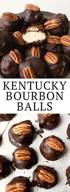 Kentucky Chocolate Bourbon Balls are inspired by the original candy created by Ruth Booe in They're made by dipping a bourbon-infused buttercream center in dark chocolate! Top with a pecan to make them party-perfect. Köstliche Desserts, Best Dessert Recipes, Candy Recipes, Holiday Recipes, Delicious Desserts, Desserts With Alcohol, Chocolate Bourbon, Chocolate Treats, Chocolate Recipes